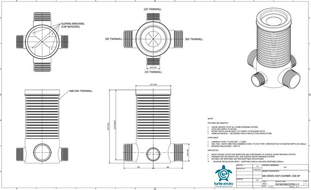 Inspection Chamber - 600mm Dia x 1500mm Depth with 300mm Twinwall Channel and 2 x 225mm x 90 Degree Inlets