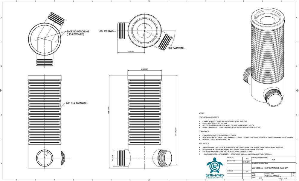 Inspection Chamber - 600mm Dia x 2000mm Depth with 300mm x 30 Degree Twinwall Channel