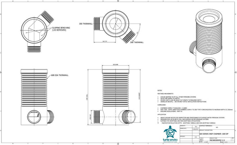 Inspection Chamber - 600mm Dia x 1500mm Depth with 300mm x 45 Degree Twinwall Channel