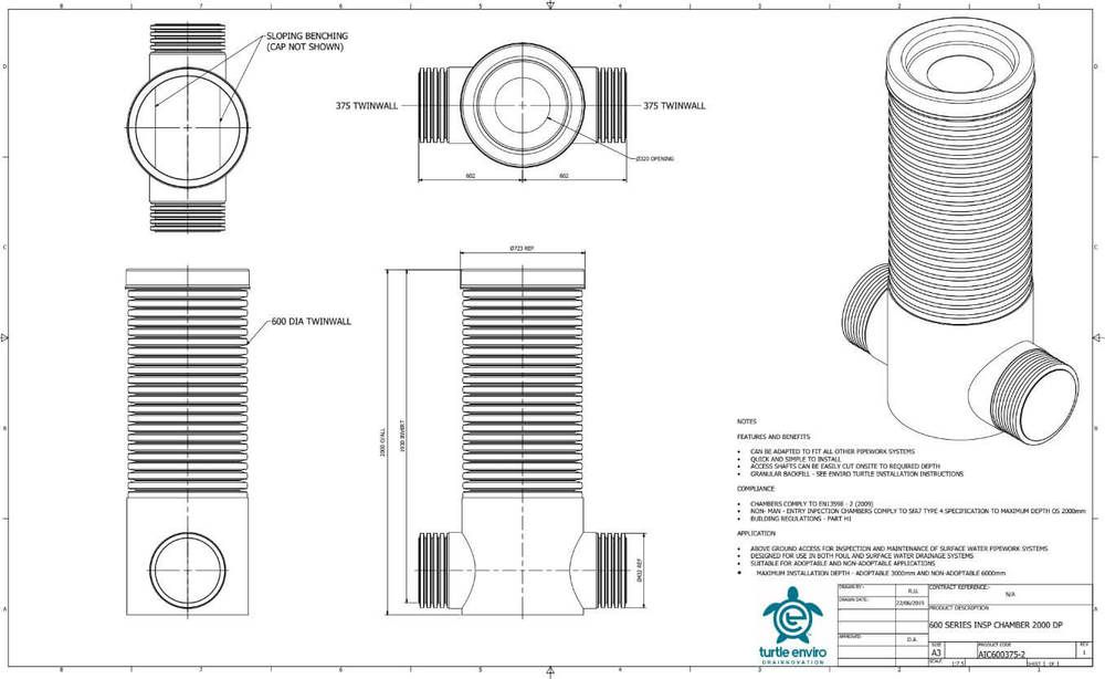 Inspection Chamber - 600mm Dia x 2000mm Depth with 375mm Twinwall Channel
