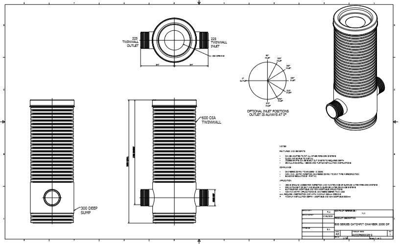 Catchpit Chamber - 600mm Diameter & 2 Metre Deep for 225mm Twinwall