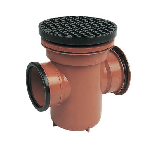FloPlast Drainage Back Inlet Bottle Gully Circular Grid - 110mm