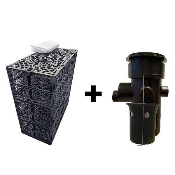 Rain Bloc 60 Tonne Soakaway and Attenuation Set With Silt Trap & Lid 1 Cubic Metre