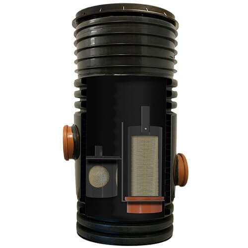 Sentinel Silt Trap With Filter And Lid - 1010mm Deep x 450mm Diameter With 150mm Twinwall Outlets