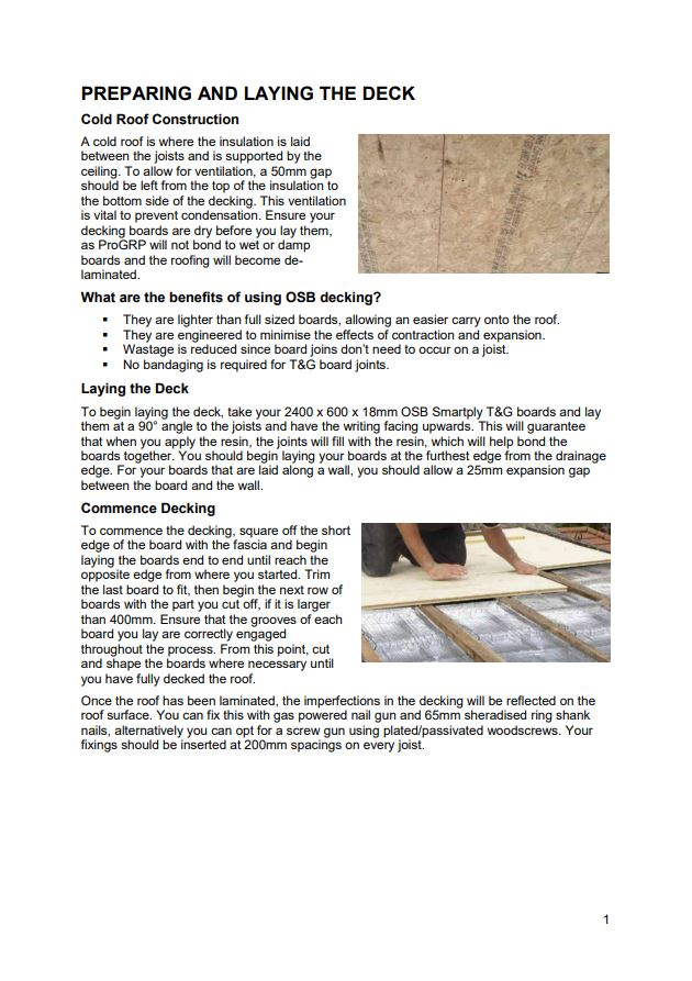 Page 1 of PRO GRP Roofing System Installation