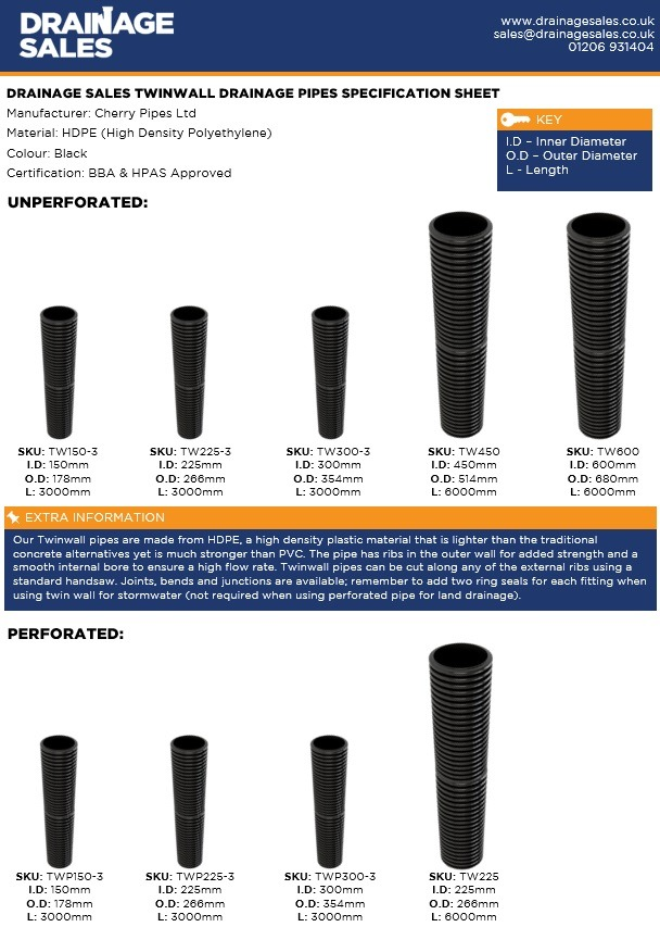 Specification Sheet For Twinwall Drainage Pipes